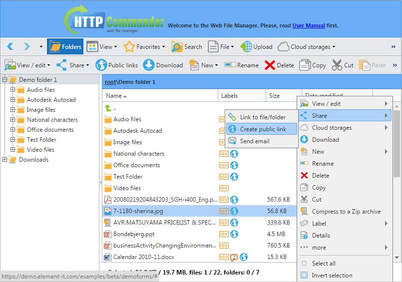 Browser-basierte Datei-Manager- Erstellung des Zugangs zu