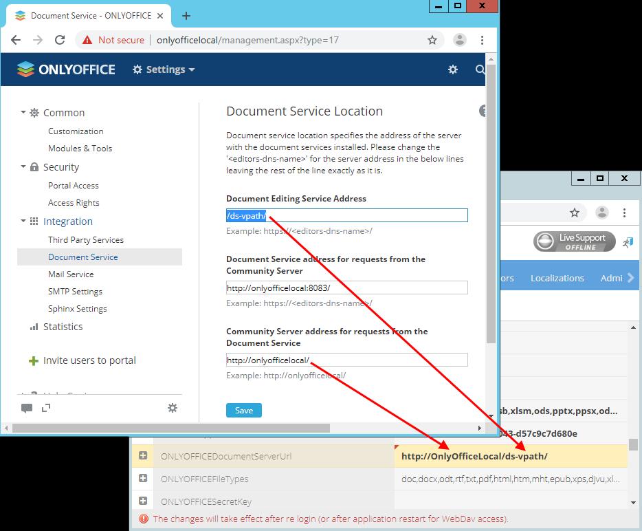 Onlyoffice document editing service address